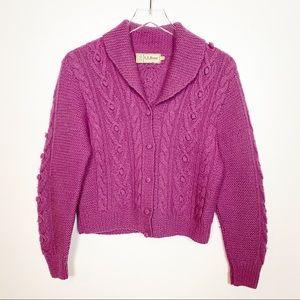 Vintage L.L. Bean Knit Cardigan Cowl Neck Purple